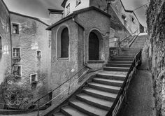 Dark Empty Alley - Black and White Pano made in the old town of Salzbur, Austria.