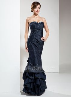 Empire Sweetheart Floor-Length Ruffle Beading Sequins Lace Up Strapless Sleeveless Dark Navy Winter Fall General Plus Taffeta Prom Dress