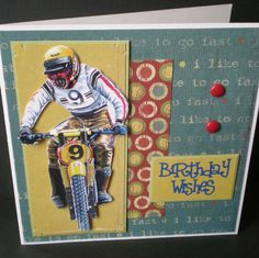 #male birthday card, #bike, handmade, contemporary, blank, card for him #motorcross