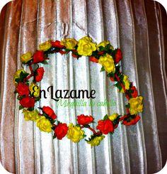 vincha corona de flores bicolor colores: amarillo y anaranjado encendidos! https://www.facebook.com/en.lazame.5