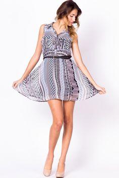 Printed Chiffon Button Up Dress