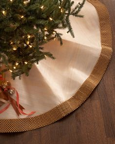 Golden Beaded Christmas Tree Skirt