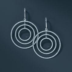 Tiffany Metro round drop earrings in 18k white gold. #TiffanyPinterest