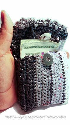 Monedero/cartera hecho con bolsas de plástico/plarn coin purse