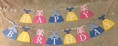 You are purchasing a Disney Princess themed Happy Birthday banner. This can be personalized with a name and/or age. Personalized comes with 10 additional letters/numbers. Anything beyond that will be an extra $0.50 per letter/number. The bottom of the dresses measure about 5.75 inches wide