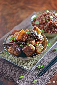 Braised Pork Belly - A cross between Chinese braised pork belly and Filipino adobo
