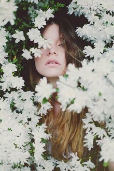 ❀ Flower Maiden Fantasy ❀ beautiful photography of women and flowers - immersed in white blossoms