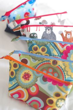 Kid's toiletry bags, using Noodlehead's Open Wide Zippered Pouch tutorial