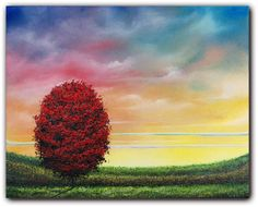 Original Landscape Painting, Red Tree Painting, Contemporary Art, Tree Landscape Oil Painting, Dramatic Sky, Rainbow Sky, Wall Decor, 8 x 10. $49.95, via Etsy.