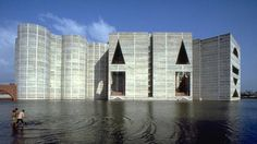 National Assembly Building with human scale by Louis Kahn |