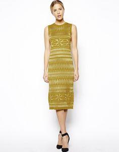 ASOS Contrast Pattern Sleeveless Midi Dress
