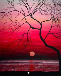 Moon against red skies