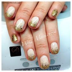 #nails #wellmanicured #nailglitter And the glitter just keeps on comin' this season! COLOR: the nude base gel is Need a Tan by #Gelish, glitter is All thet Glitters is Gold by #gelishtrends