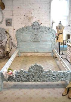 Wow what an amazing bed for your romantic boudoir. This is a brand new piece that has all the charm of an antique piece and more. Any of our