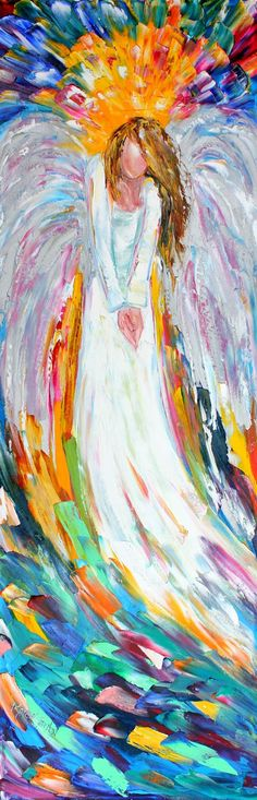 Original oil painting Angel Above palette knife by Karensfineart