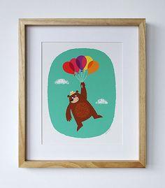 Bear + Balloons Nursery Art Print