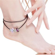 Purple Murano Glass Beads Silver Plated Charm Beaded Leather Anklet.