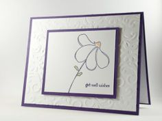 Get Well Wishes Simple Flower Handmade Greeting Card