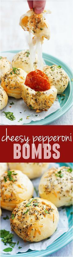 These Cheesy Pepperoni Bombs will be one of the BEST and easiest things you make! Loaded with cheese and pepperoni and topped with herbs, these are awesome!