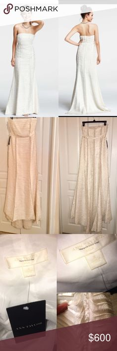 Ann Taylor silk Charmeuse tiered wedding dress 2-4 Rare ! New with tags(**defects **) Ann Taylor Silk Charmeuse Tiered Strapless Trumpet Gown size 2 - 4 Retails for $1700 The dress is a Size 2,to 4,the dress size runs big. dress was used as a sample dress so shows signs of wear on interior.bottom of dress has some dusts,light bit of dirtetc. from train sweeping on floor. Minimal and can easily be cleaned as you can see from photos. There is a tear in the silk seam line on the right side…