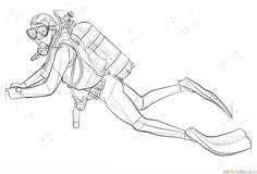 How to draw a scuba diver | Step by step Drawing tutorials