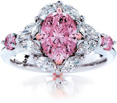 My Fair Lady Rare. Fancy Intense Pink Natural Australian Argyle Pink Diamond Ring - if you're going to go with bling let it be something this gorgeous! Pink Diamond Ring, Diamond Wedding Rings, Diamond Jewelry, Jewelry Rings, Jewelry Accessories, Fine Jewelry, Jewelry Design, Pink Ring, Pink Sapphire