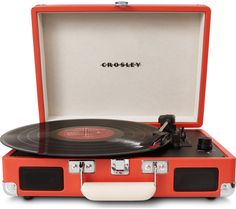 CROSLEY  Cruiser Portable Turntable - Orange, Orange Price: £ 61.75 Enjoy the authentic, rich sound of vinyl in an all new, easily transportable carry-case with the Crosley Cruiser Portable Turntable in zesty orange.  Three-speed playback Choose to play 78s, 33s, or 45s all on one device with this three-speed Crosley record player, as well as having the option of plugging in your smartphone...
