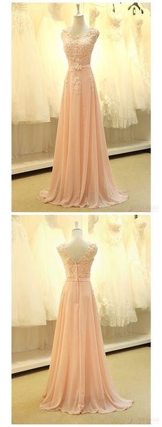 Cute pink chiffon modest prom dress with lace appliques, long evening dress for teens