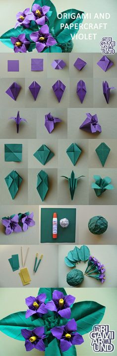 Origami and papercraft violet. My older post about how I make leaves (I'm planning to make a more detailed version someday). Made this yellow one almost the same way.