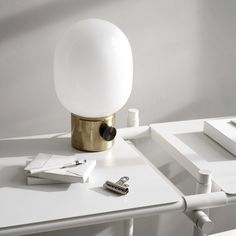 Elegant JWDA Lampe poser Laiton Verre Hcm Menu
