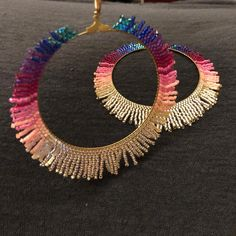 Diamond Earrings / Diamond Studs in Gold / Evil Eye Diamond Earrings / Evil Eye Jewelry / Gold Jewelry / Gift for Her - Fine Jewelry Ideas Bar Stud Earrings, Seed Bead Earrings, Seed Bead Jewelry, Diy Earrings, Beaded Jewelry, Diy Jewelry, Seed Beads, Gold Jewelry, Fashion Jewelry