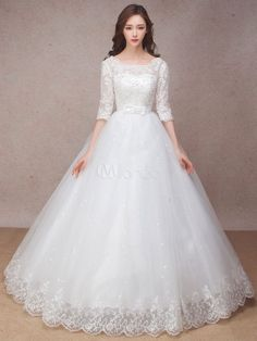 Cheap bridal gown, Buy Quality elegant bridal gown directly from China vintage wedding dress Suppliers: Ball Gown Scoop Tulle Three Quarter Lace Up Cap Sleeve Vintage Wedding Dresses Appliques Bow Ruched Sashes Elegant Bridal Gowns Princess Ball Gowns, Princess Wedding Dresses, Modest Wedding Dresses, Bridal Dresses, Cheap Wedding Dresses Online, Wedding Gowns With Sleeves, Long Dresses, Dress Long, Custom Wedding Dress