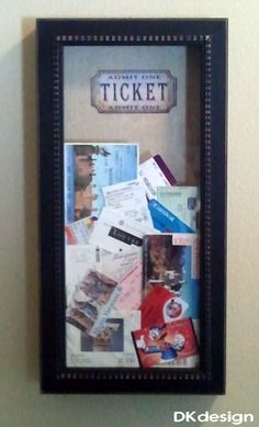 """Great place to keep all of the ticket stubs from our travels and special events. 10"""" X 20"""" Shadow box from Hobby Lobby $20.00 (40% off) and printed a picture of an old fashion ticket for the background. Cut a slot in the top to drop the tickets."""