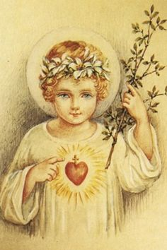 Jesus as a young child with Sacred Heart