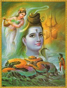 Lord Shiva, Ganga, Bhagirath (via Funkybuddha. Shiva Parvati Images, Mahakal Shiva, Shiva Art, Lord Shiva Hd Images, Shiva Lord Wallpapers, Kali Hindu, Hindu Art, Shiva Meditation, Krishna Statue