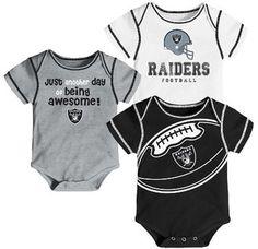 NFL Oakland Raiders Baby Boys' Awesome Football Fan 3pk Bodysuit Set