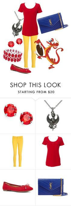 """Sidekicks: Mushu"" by madalynkw ❤ liked on Polyvore featuring L. Erickson, Carolina Glamour Collection, Tommy Hilfiger, Nine West, Yves Saint Laurent and Liz Claiborne"