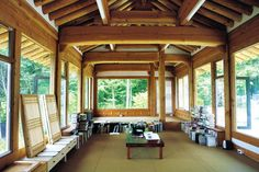 Porch Post And Beam Design, Pictures, Remodel, Decor and Ideas Interior Windows, Interior And Exterior, Dojo, Style At Home, Glass Wall Design, Modern Balcony, Build A Fireplace, Bright Rooms, Post And Beam