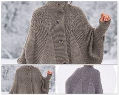 Chaud comme un pull, joli comme une cape, ce modèle qui mélange le point jersey et le point mousse est boutonné devant. Un joyeux...