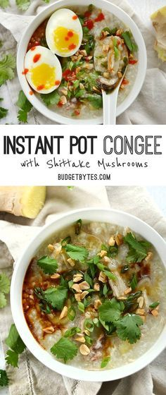Instant Pot Congee is a warm and comforting porridge with endless possibilities for fun toppings. Used Instant pot recipe book - haven't tried budget bytes recipe Rice Porridge, Porridge Recipes, Soup Recipes, Cooking Recipes, Healthy Recipes, Delicious Recipes, Chicken Porridge, Locarb Recipes, Atkins Recipes