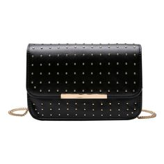 Rivet Chains Flap Cross Body Bag Black (96 RON) ❤ liked on Polyvore featuring bags, handbags, shoulder bags, chain crossbody, chain purse, chain shoulder bag, cross body and crossbody purses