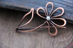 Shawl pin scarf pin sweater pin copper and pearl by Keepandcherish