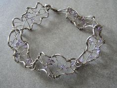 Sterling silver 925 and amethyst wire work design bracelet