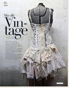 White washed upcycled dress by Gibbous Fashions