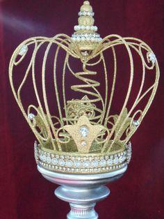Gold Glittered Embellished Crown Tree Topper by KarenKleylaDesigns