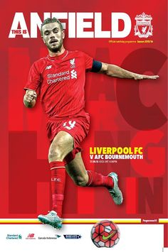 First home game of the new season. Great front cover of our new captain. LFC V Bournemouth 0 win Fc Liverpool, Liverpool Football Club, Uefa Super Cup, Afc Bournemouth, Football Program, Fa Cup, New Set, Home And Away, Premier League