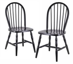 Winsome Wood Assembled 29-Inch Windsor Chairs, Set of 2, Black Finish - The price dropped 17%