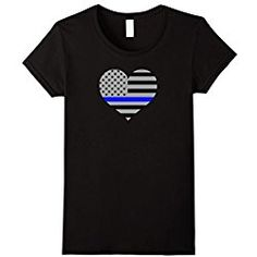 76225c59 Womens Thin Blue Line Flag Police Support Love Heart T-Shirt Medium Black