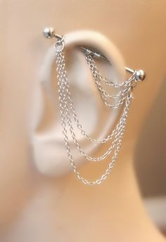 Industrial Barbell, Industrial piercing, Jewelry, Industrial bar earring, Industrial piercing chain, Dangle Chains (m9) by triballook on Etsy https://www.etsy.com/listing/208532494/industrial-barbell-industrial-piercing