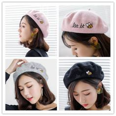 Animal bee french beret hat with embroidery for ladies eat it letter warm wool hats